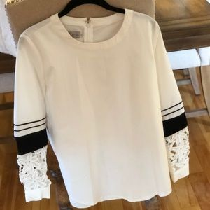 Tops - White Blouse with Lace sleeve detail Size M